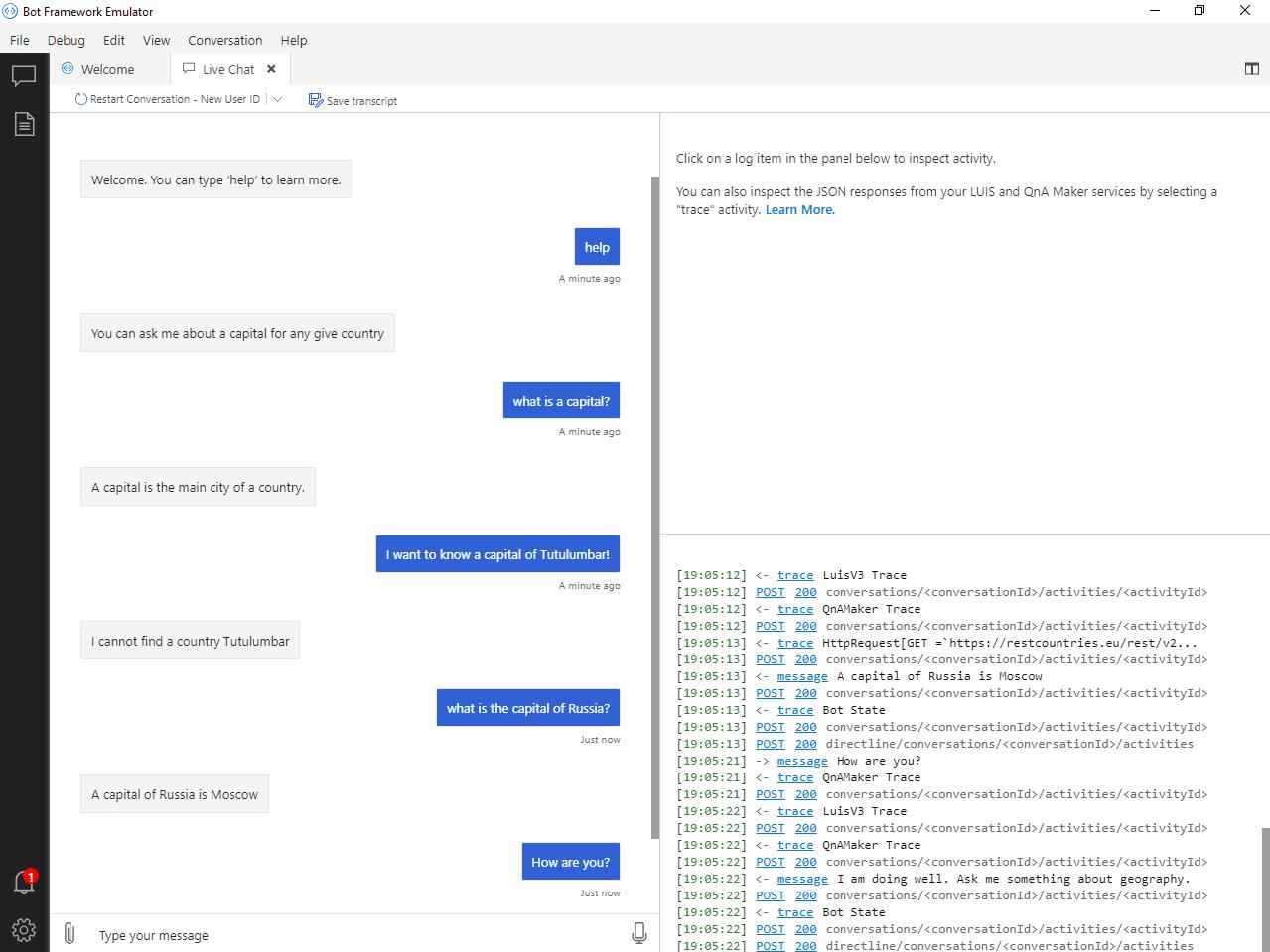 Chat in bot emulator