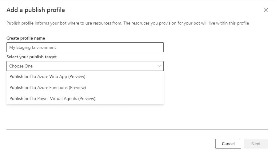 Publishing profiles