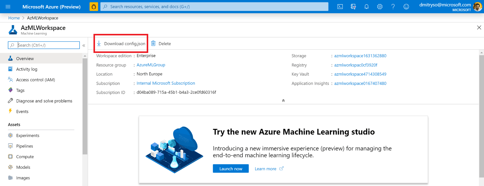 Azure ML Portal Config