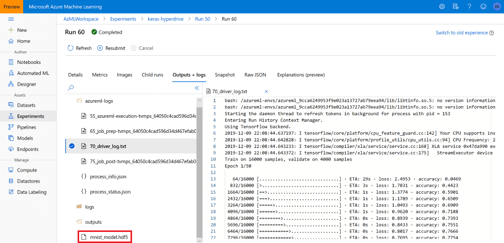Azure ML Experiment Output
